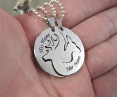 Custom Buck and Doe necklace boyfriend and girlfriend jewelry deer hunting country couples his and hers relationship gift promise necklaces