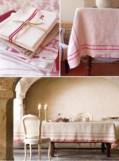 For a long time now I have coveted these beautiful French striped table linens. I love the farmhouse vibe, the vintage appeal, and the si. French Country Cottage, French Country Style, French Country Decorating, Striped Table Runner, Linens And Lace, Table Linens, Linen Tablecloth, French Vintage, French Antiques