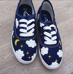 Harajuku hand-painted canvas shoes //  $28.88 // #shoes #shopping #cute #harajuku #canvas #sneakers #clouds #space #sky #moon #stars