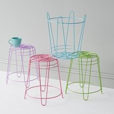 Coloured wire stools