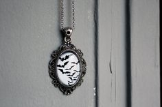 Gothic black bats cabochon covered pendant by DevilsJewel on Etsy, $35.00