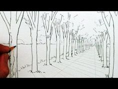 How to Draw in 1-Point Perspective: A Road and Trees - YouTube