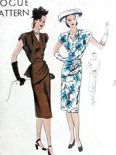 1940s FILM NOIR Draped Front Peplum Dress Pattern VOGUE 5647 Unique Design Figure Flattering Bust 36 34 Vintage Forties Sewing Pattern