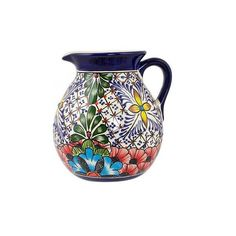 NOVICA Handcrafted Mexican Majolica Colorful Ceramic Pitcher (2.240 RUB) ❤ liked on Polyvore featuring home, kitchen & dining, serveware, blue, homedecor, pitchers & decanters, tableware & entertaining, mexican tableware, blue pitcher and novica