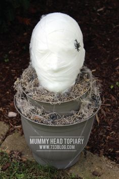 DIY Foam Head Mummy Topiary - seven thirty three