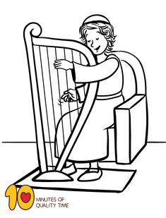 David Playing the Harp Coloring Page Giraffe Coloring Pages, Dolphin Coloring Pages, Bee Coloring Pages, Bible Activities For Kids, Art Activities, Little David, Christian Preschool, Children Ministry, Sunday School Crafts
