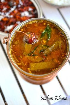 Traditional South Indian Sambar with Okra or Vendakkai, tamarind, dal and spices. Good side dish with steamed rice.