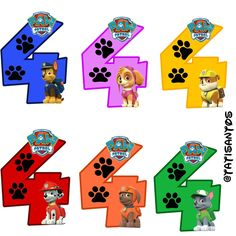 Números personalizados Patrulha canina - *4 Paw Patrol Party Favors, Paw Patrol Cake, Paw Patrol Birthday, Imprimibles Paw Patrol, Cumple Paw Patrol, Spiderman Theme, Hero Crafts, Peter Rabbit Birthday, Paw Patrol Characters