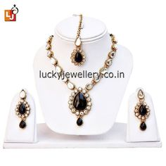 Looking for some cool and funky #jewelry accessories. Try this beautiful 1-Line Black Kundan Set with Mang Tika. Get it now online from #LuckyJewellery  at Rs. 319/- This #monsoon season look stunning with this stylish #Necklace set. #jewellery #fashion #style #ethnic #wedding http://ift.tt/29Totog