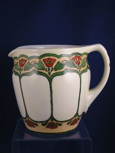 "PH Leonard Austria Arts & Crafts Floral Design Pitcher (Signed ""B.C.C.""/c.1890-1908)"