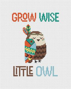 Grow wise little owl - counted cross stitch pattern pdf. The pattern will fit nicely in a 8x10 frame (or 20 cm x 25 cm) on 14 count fabric. ★★★ Pattern specifications ★★★ This listing is for the PDF pattern only! Just download, print and cross-stitch! ➔ Stitches used: full cross stitch. ➔ DMC Colors: 8 pieces (№ 958, 727, 3370, 721, 3761, 3371, 898, 3862). ➔ Design size in stitches: 74 x 100 ➔ Design size in inches and centimeters (approximately): 5.3 X 7.2 in or 13.4 X 18.2 cm (14 count ...