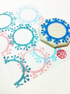 flower wreath hand carved rubber stamp. botanical by talktothesun