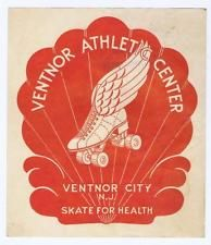 1950s roller skating rink label, Ventnor Athletic Center Ventnor City NJ  #325