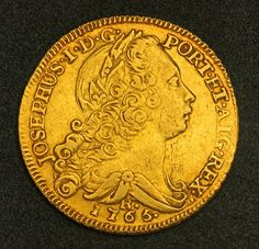 Brazilian Gold Coins Peca or 6400 Reis Gold Coin of 1765, King Joseph I, minted 1765-R (Rio Mint).