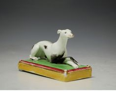 other side of the Staffordshire whippet on base, antique period circa 1840