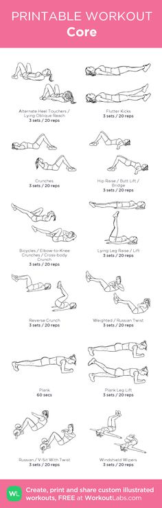Core: my visual workout created at WorkoutLabs.com • Click through to customize and download as a FREE PDF! #customworkout