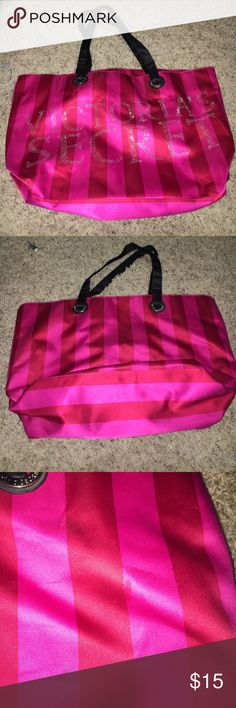 VS rhinestone tote VS rhinestone tote. Huge bag. Perfect for beach/pool. Some stains on outside as pictured. Victoria's Secret Bags Totes