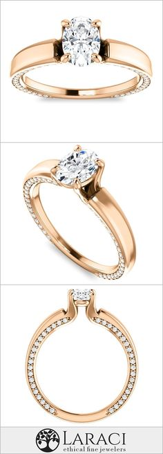a44e8fb27df 18K Rose Gold Engagement Ring with Common Prong Side Mounted Gem Accents  set with a 0.9