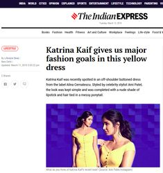 Katrina Kaif was recently spotted in an off-shoulder buttoned dress from the label Alina Cernatescu. Styled by celebrity stylist Ami Patel, the look was kept simple and was completed with a nude shade of lipstick and hair tied in a messy ponytail. Indian Bollywood, Bollywood Actress, Messy Ponytail, Black Balloons, World Cities, Katrina Kaif, Button Dress, Blue Blouse, Plunging Neckline