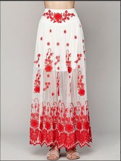 FREE-PEOPLE-Red-White-English-Garden-Maxi-Skirt-XSMALL