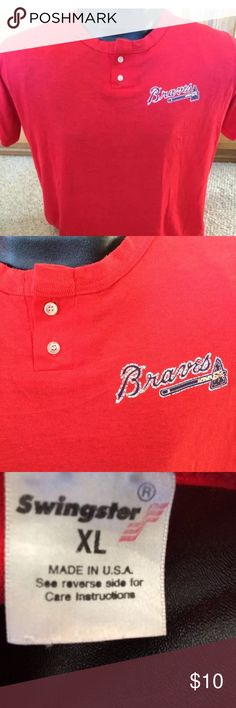 """Vintage atlanta braves henley shirt Button up t shirt. 50/50 super soft.  21"""" pit to pit 26"""" length 50 poly 50 cotton old vintage shirt makes soft thin comfy feel Made in USA Fits smaller than a modern day shirt would Shirts Tees - Short Sleeve"""