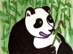NFAC Furry Friends - ACEO Fat Panda Bear Mystical Jungle Scene OOAK Art dcurtis #Expressionism
