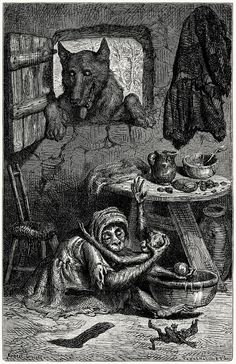 The nurse and the wolf.  Ernest Griset, from Æsop's fables, with text based chiefly upon Croxall, La Fontaine and L'Estrange, London, New York, 1869.