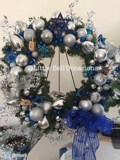 Hanukkah wreath on littlebelloccasions.etsy.com