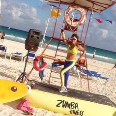 NRG2GO Instructor  Sylvie Laberge. Zumba on the beach at Viva Wyndham Azteca