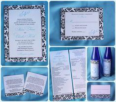 Black Damask Border and Carolina Blue Monogram wedding invitations, ceremony programs, wine bottle table number labels, and escort cards