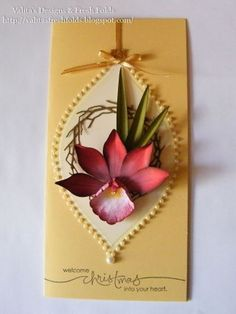 card with dimensional paper orchid in a delightful arrangement...