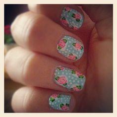 floral polka dot nails