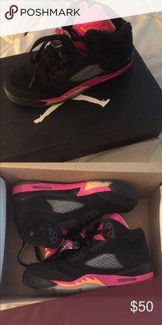 3ec02a738f Girls Retro Jordans Black, orange & Pink retro 5's Jordan Shoes Sneakers