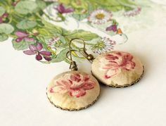 Dangle Earrings  Antique Roses  Pink Beige by PatchworkMillJewelry, $16.00
