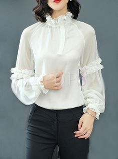 Womens Fashion - Shop Solid Color Stand Collar Blouse at EZPOPSY. Iranian Women Fashion, Fashion Tips For Women, Fashion Ideas, Womens Fashion, Hijab Fashion, Fashion Dresses, Sleeves Designs For Dresses, Collar Blouse, Ruffle Collar