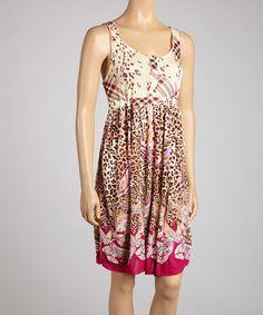 Take a look at this Beige & Fuchsia Safari Sleeveless Dress - Women by Ash & Sara on #zulily today!
