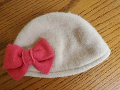 f4b3664a Gymboree Girls Wool Winter Beanie Hat Beige Color With Pink Bow Size 5-7 EUC