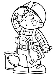 Bob The Builder Full Of Paint Stain Coloring Page : Coloring Sun Boy Coloring, Free Coloring, Coloring Pages For Kids, Adult Coloring, School Coloring Pages, Colouring Pages, Coloring Sheets, Coloring Books, Construction For Kids