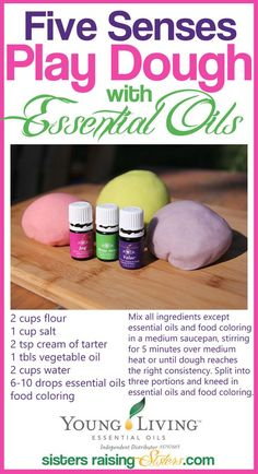 Adding essential oils to this play dough recipe increases the sensory and therapeutic experience and engages all the senses. See how to make it here.