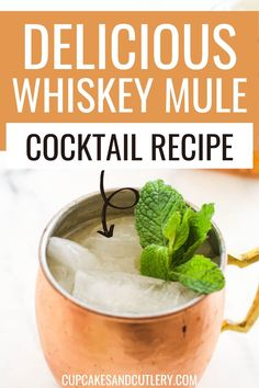 This Whiskey Mule recipe is so good! With just a few ingredients it can be made in just a couple of minutes! It's a fun twist on the classic Moscow Mule and is perfect for whiskey lovers! Sip this all year long. Wine Cocktails, Easy Cocktails, Classic Cocktails, Non Alcoholic Drinks, Cocktail Recipes, Beverages, Moscow Mule With Whiskey, Whiskey Ginger, Good Whiskey