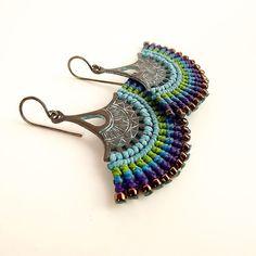 neferknots (53 CAD) ❤ liked on Polyvore featuring purple jewelry, long earrings, blue jewelry, peacock blue jewelry and peacock jewellery