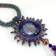 Flameworked Glass Blue and Bronze Beaded Pendant/ Game of Thrones Inspired/ Bead Crochet Rope Necklace/Gothic