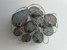 Johart/Jennifer Joh Cocoon 3 X X wire, foam balls Thread Jewellery, Metal Jewelry, Jewelry Art, Jewelry Design, Chicken Wire Art, Creative Knitting, Wire Crochet, Book Sculpture, Organic Form
