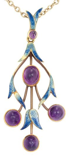 Art Nouveau Gold, Enamel and Cabochon Amethyst Pendant. Surmounted by a pendant loop set with one small round cabochon amethyst supported by blue enamel leaves, suspending four oval cabochon amethyst joined by knife edge bars, decorated with stylised blue enamel vines, suspended from a 9 kt. gold chain, circa 1900. #ArtNouveau #pendant