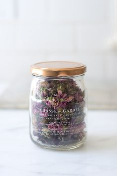 Branding & Packaging Design for Floral Juice Bar that Deliver Floral Based Edible Tea's A glass jar of dried wild roses with copper coloured lid Glass Packaging, Pretty Packaging, Brand Packaging, Packaging Design, Product Packaging, Simple Packaging, Incense Packaging, Juice Packaging, Flower Packaging