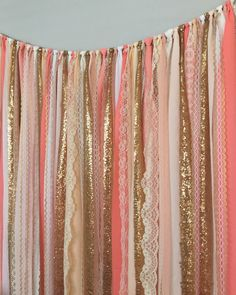 Mint Coral Aqua Teal Rag Curtain Ribbon Garland Lace and Fabric x ...