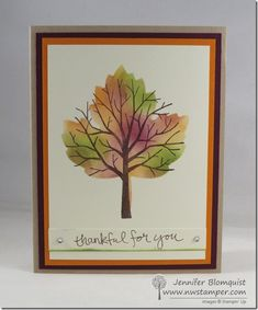 Beautiful Tie-Dyed Tree with Sheltering Tree and the Leaflet Thinlits - Northwest Stamper Fall Cards, Holiday Cards, Christmas Cards, Stamping Up Cards, Rubber Stamping, Leaf Cards, Thanksgiving Cards, Watercolor Cards, Sympathy Cards