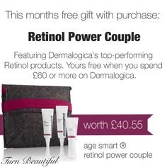 This months gift with purchase is #Dermalogica' ultimate power couple!  Overnight Retinol Repair (with buffer cream) and the new Age Reversal Eye Complex and tucked into a lovely little grey felt envelope bag. These products feature state-of-the-art microsphere technology for unsurpassed age reversal!  Even Dad gives these the  The power peptides boost collagen production firms kin and increases hydration and tone. ORR active microencapsulated Retinol (0.5%) induced collagen synthesis and…