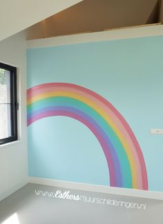 Rainbow Room Kids, Rainbow Bedroom, Rainbow Wall, Unicorn Bedroom, Baby Bedroom, Girls Bedroom Mural, Big Girl Bedrooms, Little Girl Rooms, Girl Bedroom Designs