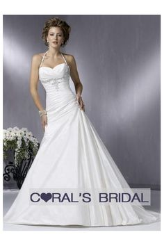 Wedding dress with bling beaded halter strap WD09124 (Caleigha)